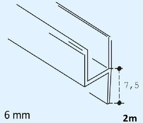 Magnetdichtung 180° Paar L 2500 mm für Glasstärke 8 mm